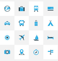Journey colorful icons set collection of bus bed vector