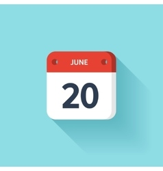 June 20 Isometric Calendar Icon With Shadow vector