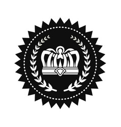 kings crown between laurel branches on royal seal vector image