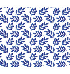 leaves blue pattern vector image