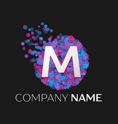 Letter m logo with blue purple pink particles vector