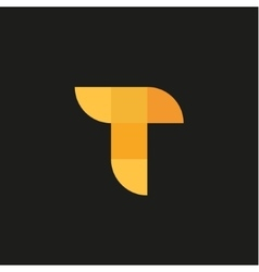 letter t in form abstraction yellow vector image
