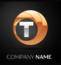 letter t logo symbol in the golden-silver circle vector image