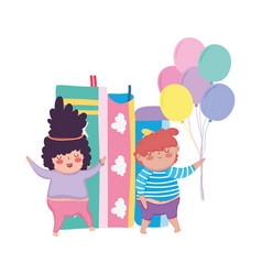 Little chubby couple with balloons helium and vector