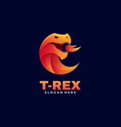 Logo t-rex gradient colorful style vector