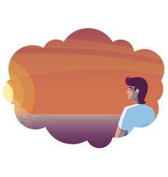 Man contemplating horizon sky sunset scene vector