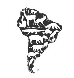 Map southern america silhouette with wild animals vector
