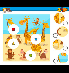 Match pieces puzzle with monkeys and giraffes vector