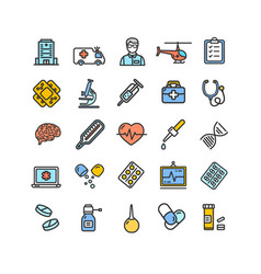medicine symbols and signs color thin line icon vector image