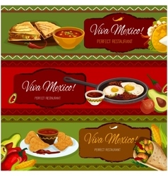 Mexican cuisine restaurant banner set design vector