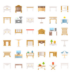 modern and vintage table and desk flat icon set vector image