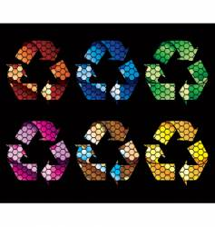 Mosaic recycle icons vector