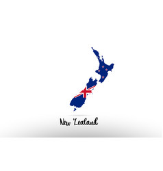 new zealand country flag inside map contour vector image