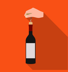 opening the bottle with a corkscrew manipulation vector image