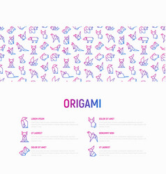 origami concept with thin line icons vector image