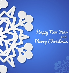 Paper christmas snowflake card vector image