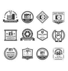 Photography Black White Emblems Set vector