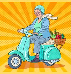 Pop art senior woman riding scooter lady biker vector