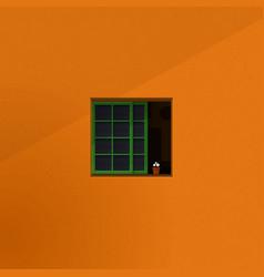 Quiet room seen form outside window minimalist vector