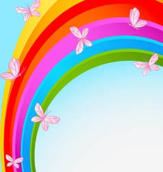 Rainbow sky with butterfly vector image