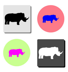 rhinoceros flat icon vector image