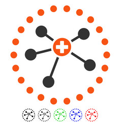 Rounded medical connections flat icon vector