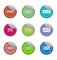 Salenewfreeand percentage sticker label set vector