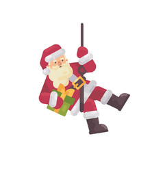 Santa claus rappelling with a present in hand vector
