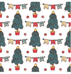 seamless christmas pattern with santa clause deer vector image