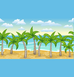 seamless natur beach landscape with palm trees vector image