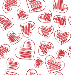 seamless pattern of hand-drawn hearts isolated vector image