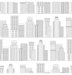 seamless pattern of line skyscrapers black vector image