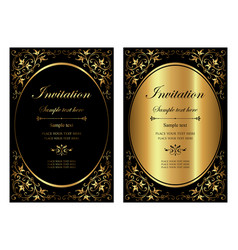 set invitation card - black and gold style vector image