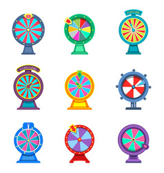 Set isolated wheels fortune or roulettes vector