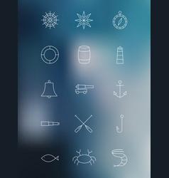 set marine linear icons on blurred background vector image