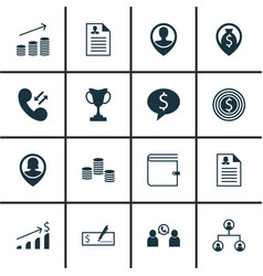 set of 16 management icons includes wallet tree vector image
