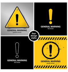 set of general warning symbols vector image