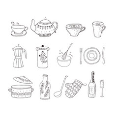 Set of kitchenware separated on the white vector