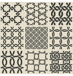 Set of monochrome geometric seamless patterns vector image