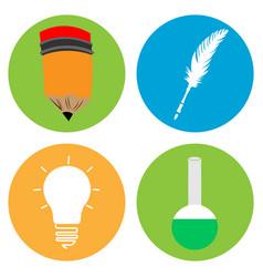 Set of school icons vector