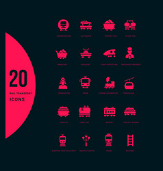 set simple icons rail transport vector image