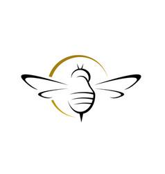 Simple bee hornet logo design silhouette hornets vector