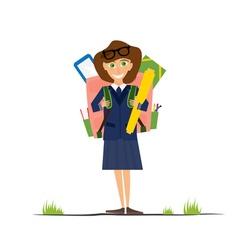 Smiling young school girl in uniform vector