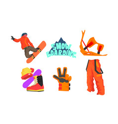 snowboarder and snowboarding equipment set winter vector image