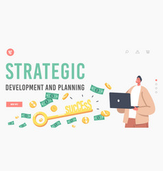 Strategic development and planning landing page vector