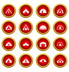 Tent forms icon red circle set vector