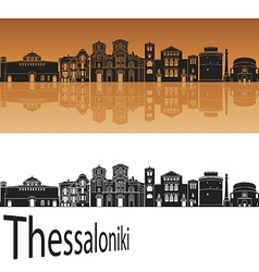 Thessalonik skyline in orange vector image