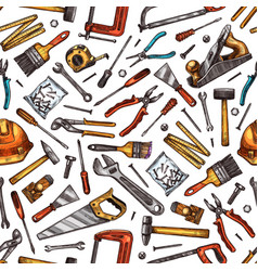tools seamless pattern hammer screwdriver saw vector image
