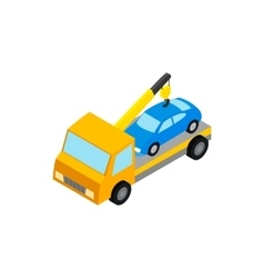 Tow truck hauls car to penalty parking icon vector image