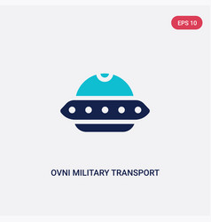 Two color ovni military transport icon from army vector